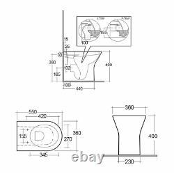 550mm Cloakroom Suite Vanity Unit Basin Rak Back To Wall Rimless Toilette Citerne