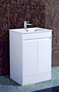 600mm Vanity Unit Cabinet Avec Bassin En Céramique Et Stockage Waterpoof Gloss Fini