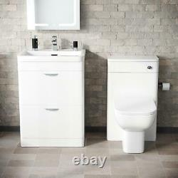 600mm White 2 Drawer Vanity Cabinet Et Wc Btw Back To Wall Toilet Suite