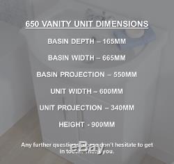 650mm Blanc Laqué Vanity Unit & Basin + 500wc Retour À L'unité Murale