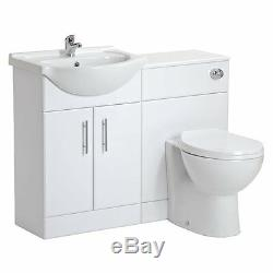 650mm Gloss White Vanity Unit Et Dos Au Mur Toilettes Pan