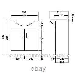 650mm Vanity Unit Basin Sink Back To Wall Linton Toilet Bathroom Furniture Suite