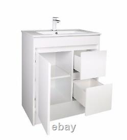 750mm White Gloss 100% Étanche Vanity Unit Rangement Square Basin Fermeture Douce