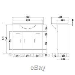 850mm Unité Vanity Basin Sink Retour À Wall Laura Toilettes Bathroom Furniture Suite