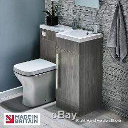 900mm Avola Gris Salle De Bains Unité Vanity Designer Furniture Suite Retour À Wc Mur