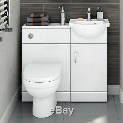 900mm Blanc Brillant Bassin Vanity Unit + Retour À Wall Set Toilettes Meubles