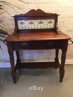 Antique Pine Wash Carrelage Stand Backed Art Nouveau Salle De Bains Chambre Tiroirs Vanity