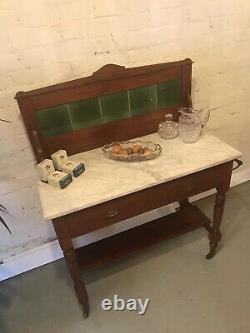 Antique Tile Backed Bathroom Wash Stand Vanity Unit Vintage Drawers Marbre Vert