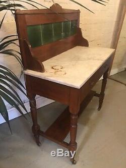 Antique Tile Backed Salle De Bains Lavabo Unité Vanity Vintage Tiroirs Marbre Vert