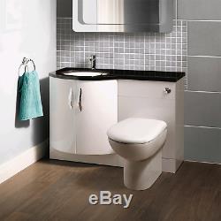 Bassin Avant Bow Vanity Unit & Dos Au Mur Gauche Toilettes Main Noire Worktop