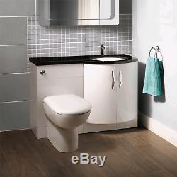 Bassin Avant Bow Vanity Unit & Dos Au Mur Toilettes Main Droite Noir Worktop
