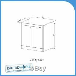 Bathroom Furniture Gris Vanity Unit Cabinet Basin Retour À Wc Unité Murale