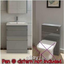 Bathroom Furniture Suite Gris Vanity Unit Cabinet Basin Retour À Wc Unité Murale