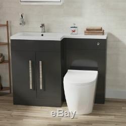 Bella Salle De Bain Gris Bassin Vanity Meubles Wc Unité Retour Au Mur Toilettes Lh 1100mm