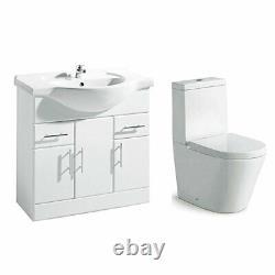 Blanc Bathroom Furniture Suite Vestiaire Avec 850mm Bassin Vanity Évier Wc Toilettes