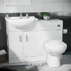 Blanc Brillant Bassin Vanity Unité Retour Au Mur Wc Toilettes Salle De Bains Suite Debra