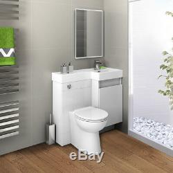 Blanc Combi Mur Salle De Bains Unité Vanité Avec Lavabo + Retour + Wc + Réservoir 906r