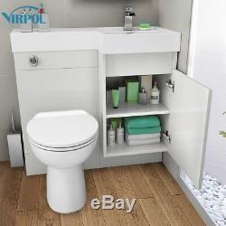 Blanc Designer Combinaison De Bain Vanity Unit & Basin Retour Au Mur Toilettes 906r