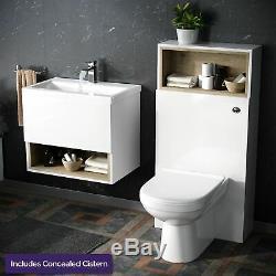 Blanc Moderne 610 MM Mur Hung Vanity Cabinet Et Wc Retour Au Mur Ensemble De Toilettes