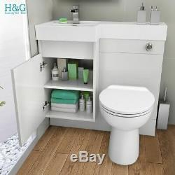 Blanc Unité Combi Bathroom Wall Vanity Lavabo + Retour + + Cistern Toilettes 906l