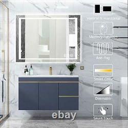 Bz 32x24 Pouces Led Bathroom Mirror, Wall Mounted Bathroom Vanity Mirror, Dimmable