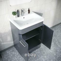 Cabinet De Bassin De Vanity Gris En Acier 600mm Avec Wc Retour À L'unité De Toilette Murale Amie