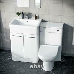 Cabinet White Vanity Basin 600mm Avec Wc Retour À L'unité De Toilette Murale Amie