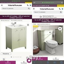 Camberley Unité Vert Sauge Vanité Et Dos Au Mur Ensemble De Toilettes