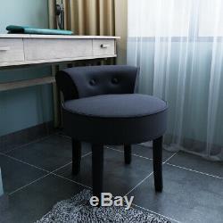 Coiffeuse Tabouret Chaise Velours Chambre Makeup Vanity Chair Seat Gris Noir