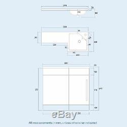 Collecteur 900mm Main Droite Salle De Bains Blanc Basin Vanity Retour Au Mur Wc Toilettes