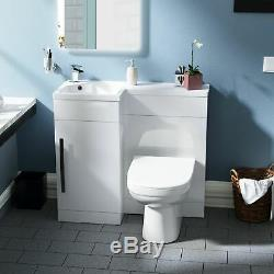 Collecteur 900mm Main Gauche Salle De Bains Blanc Bassin Vanity Retour Au Mur Wc Toilettes