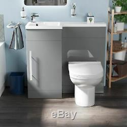 Collecteur Salle De Bains Gris Clair Évier Lavabo Vanité Unité Gauche Toilettes Toilettes