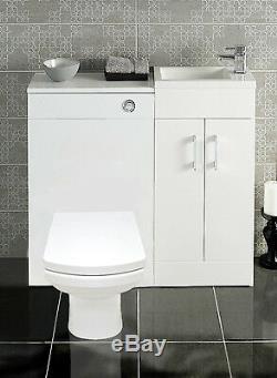 Combinaison Blanche Unité Vanity Sink Bassin Concealed Retour À Mur Toilette Salle De Bains