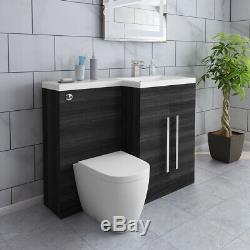 Designer Main Droite Gris Combi Bathroom Vanity Unit & Basin & Back Mur Toilettes