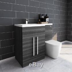 Designer Main Gauche Gris Combi Bathroom Vanity Unit & Lavabo + Dos Au Mur Toilettes