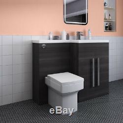 Designer Rh Gris Combi Salle De Bain Meuble Sous Lavabo Avec Lavabo + Dos Au Mur Toilettes