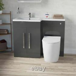 Elaina Salle De Bains Gris Bassin Unité Vanity Lh Wc Rimless Retour Au Mur Toilettes 1100