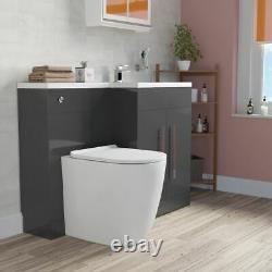 Elaina Salle De Bains Gris Rh Bassin Vanity Unité Wc Rimless Retour Au Mur Toilettes 1100mm