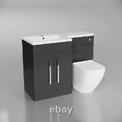 Ellore Salle De Bains Gris Bassin Unité Vanity Rimless Retour Au Wc Mur Toilettes 1100mm Lh