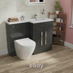 Ellore Salle De Bains Gris Rh Bassin Vanity Unité Wc Rimless Retour Au Mur Toilettes 1100mm