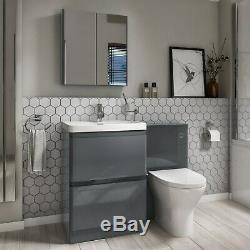 Étage Unité Vanity Bassin Dos À Mur Toilettes Salle De Bains Stockage Gris Foncé