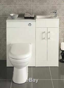 Gloss White Bathroom Furniture Vanity Basin Cabinet Éviers Retour Au Mur Pan