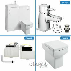 Gloss White Bathroom Vanity Basin Sink Back To Wall Toilet Unit Meubles Wc