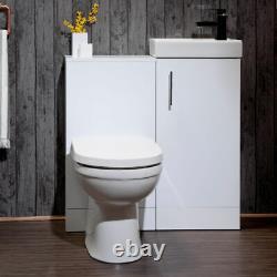 Gloss White Bathroom Vanity Basin Sink Retour Au Mur Wc Unité Meubles