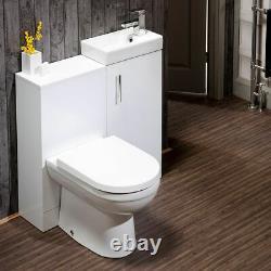 Gloss White Salle De Bain Vanity Basin Évier Retour À L'unité De Toilette Murale Meubles Wc