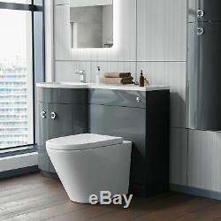 Gris 1100 MM Salle De Bains Bassin Meuble Sous Lavabo Et Wc Retour Au Mur Toilettes Suite Dene