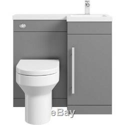Gris Designer De Bain Combinaison Unité Vanité Avec Lavabo + Dos Au Mur Toilettes
