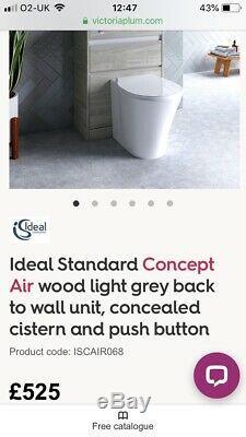 Idéal Standard Unité Air Concept Bois Gris Clair Retour Au Wc Mural Vanity Rrp £ 525