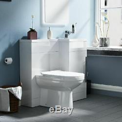 Ingersly 900mm Main Droite Salle De Bains Blanc Basin Vanity Retour Au Mur Wc Toilettes
