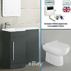 Ingersly 900mm Main Gauche Salle De Bains Gris Vanity Basin Dos Au Mur Toilettes